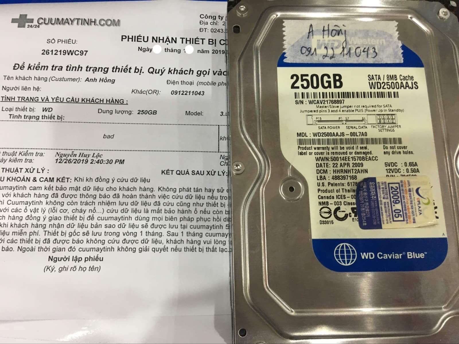 Khôi phục dữ liệu ổ cứng Western 250GB bad 02/01/2020 - cuumaytinh