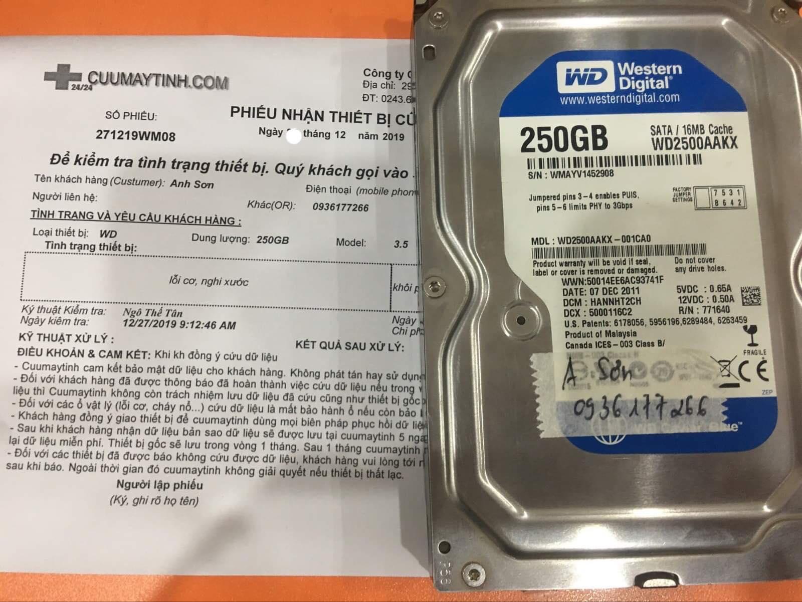 Khôi phục dữ liệu ổ cứng Western 250GB lỗi cơ 31/12/2019 - cuumaytinh