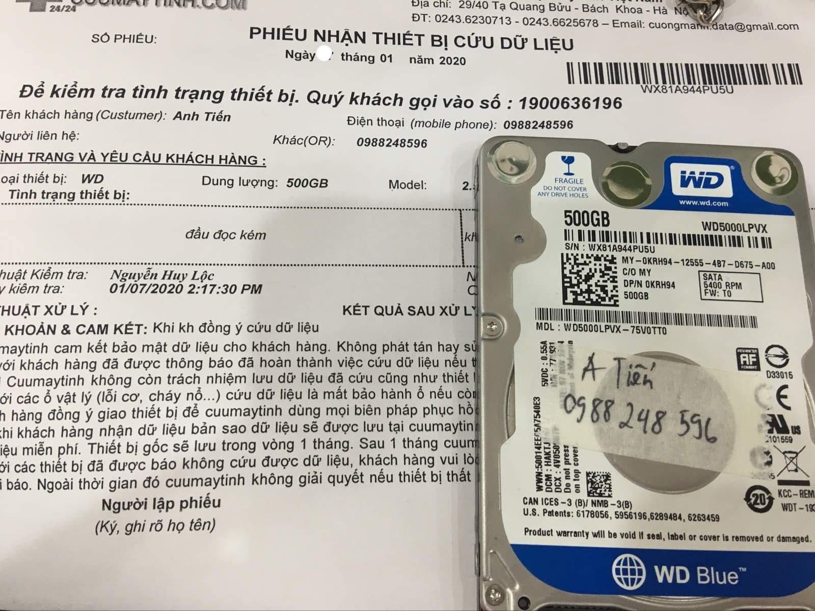 Khôi phục dữ liệu ổ cứng Western 500GB đầu đọc kém 08/01/2020 - cuumaytinh