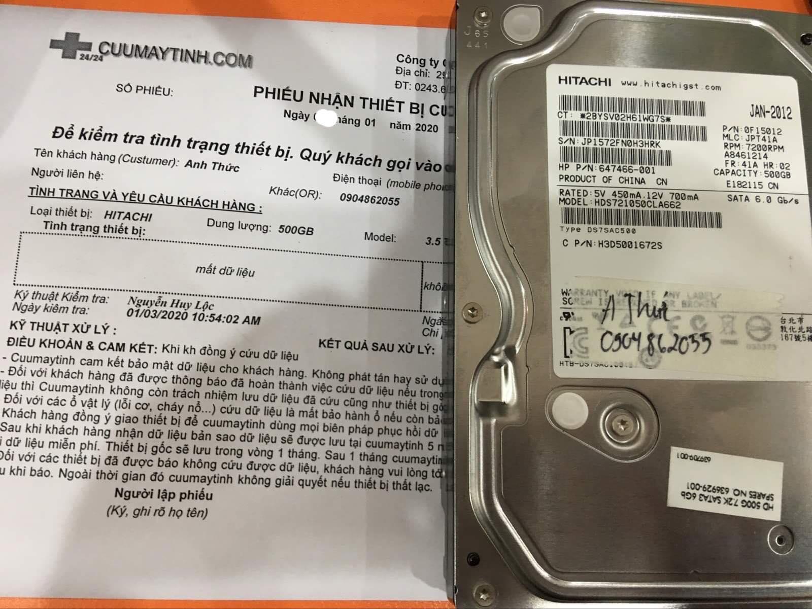 Lấy dữ liệu ổ cứng Hitachi 500GB format nhầm 10/01/2020 - cuumaytinh