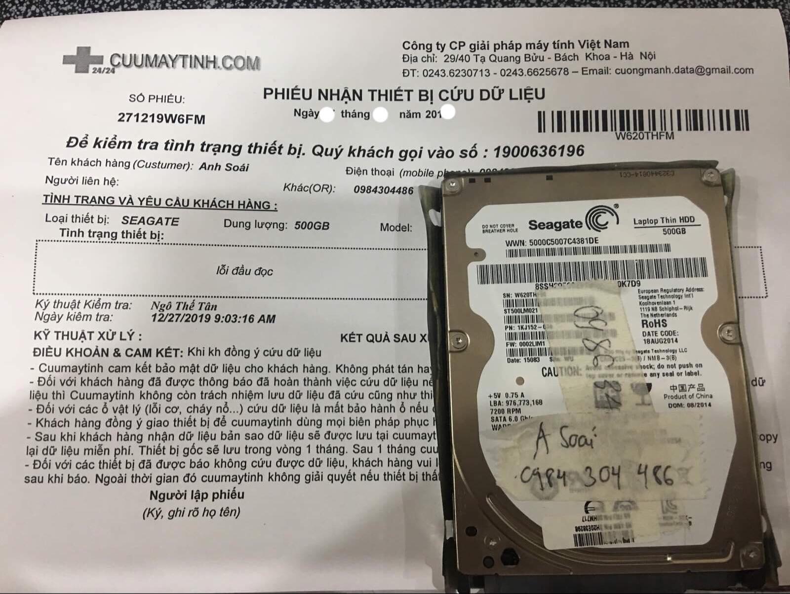 Lấy dữ liệu ổ cứng Seagate 500GB bó cơ 04/01/2020  - cuumaytinh