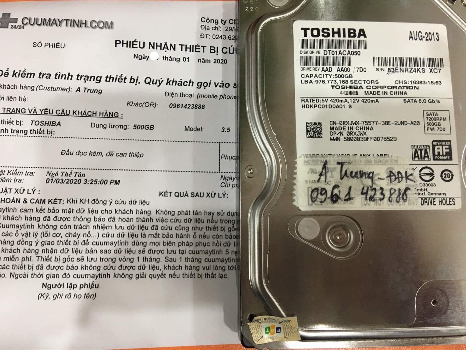 Lấy dữ liệu ổ cứng Toshiba 500GB đầu đọc kém 06/01/2020 - cuumaytinh