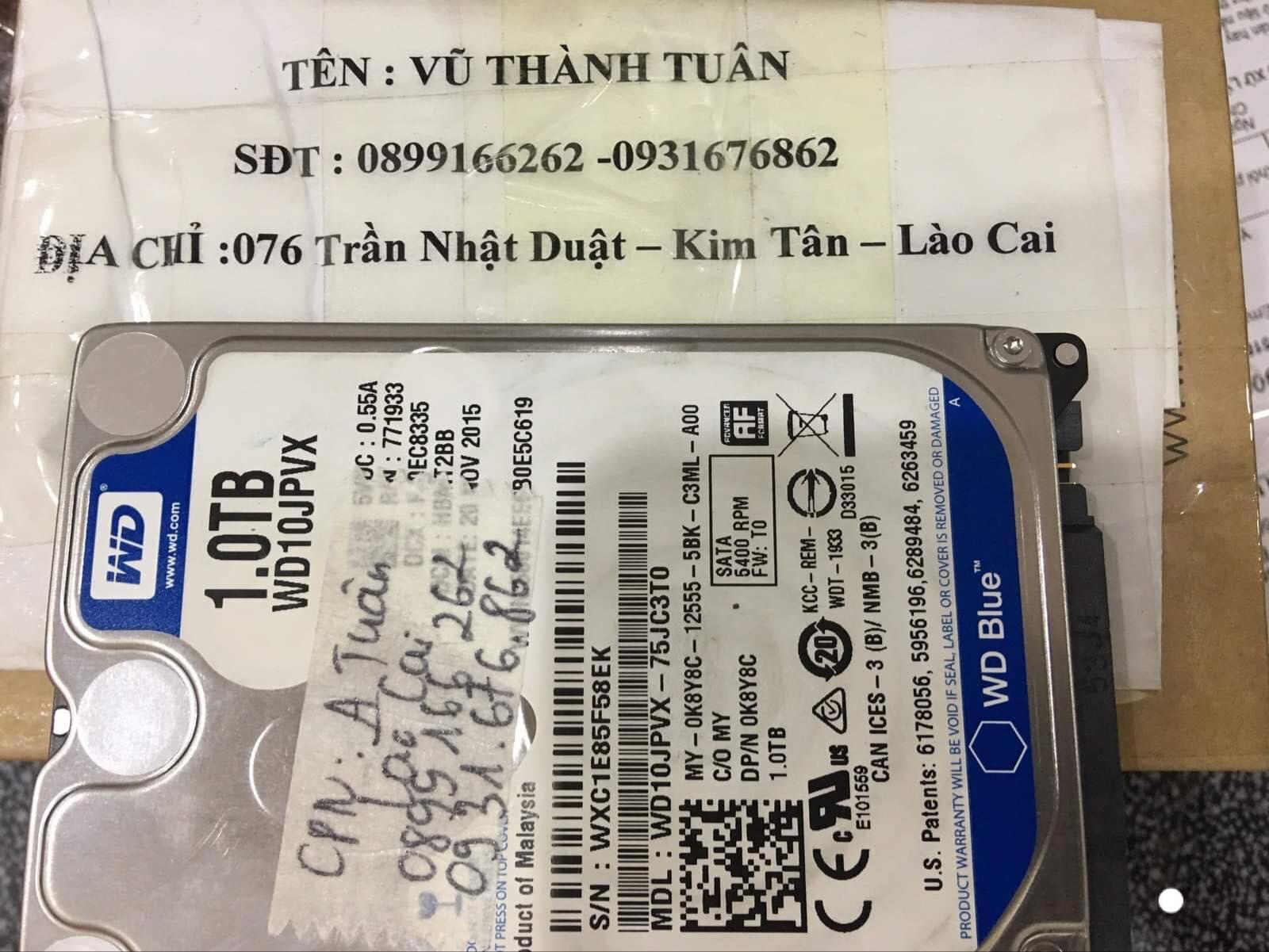 Lấy dữ liệu ổ cứng Western 1TB đầu đọc kém tại Lào Cai 31/12/2019 - cuumaytinh