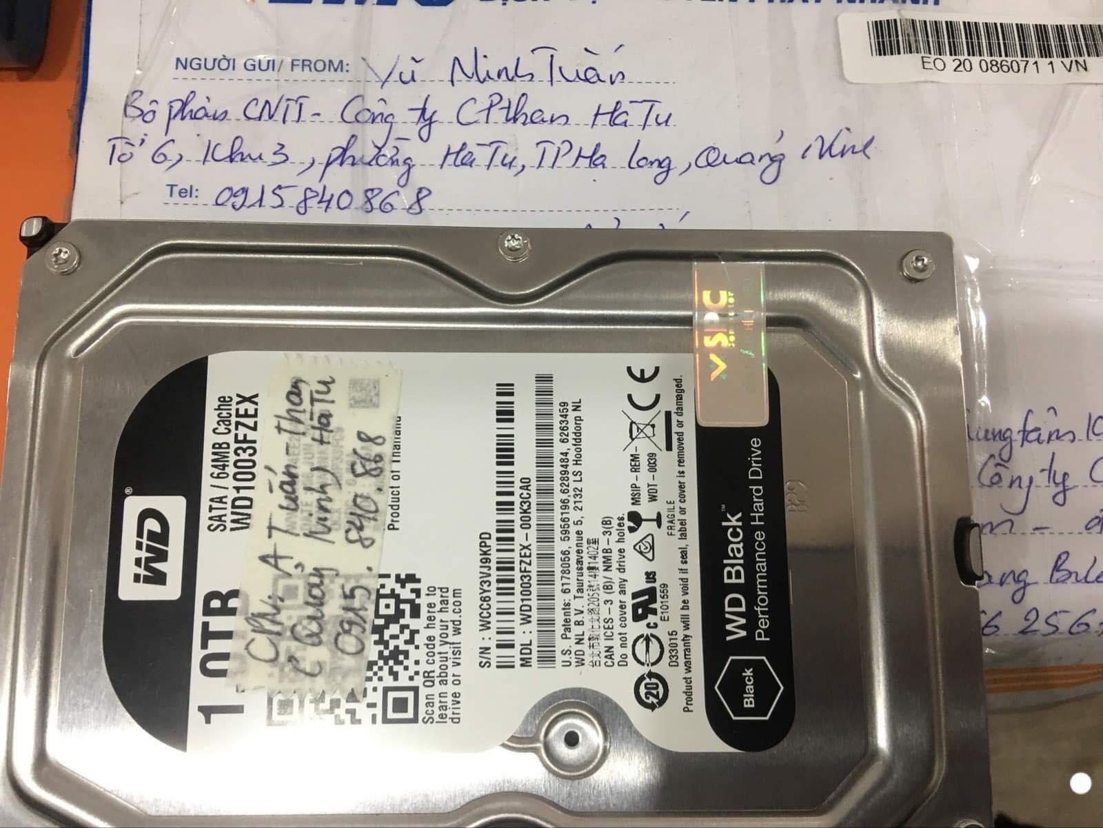 Lấy dữ liệu ổ cứng Western 1TB lỗi cơ tại Quảng Ninh 30/12/2019 - cuumaytinh