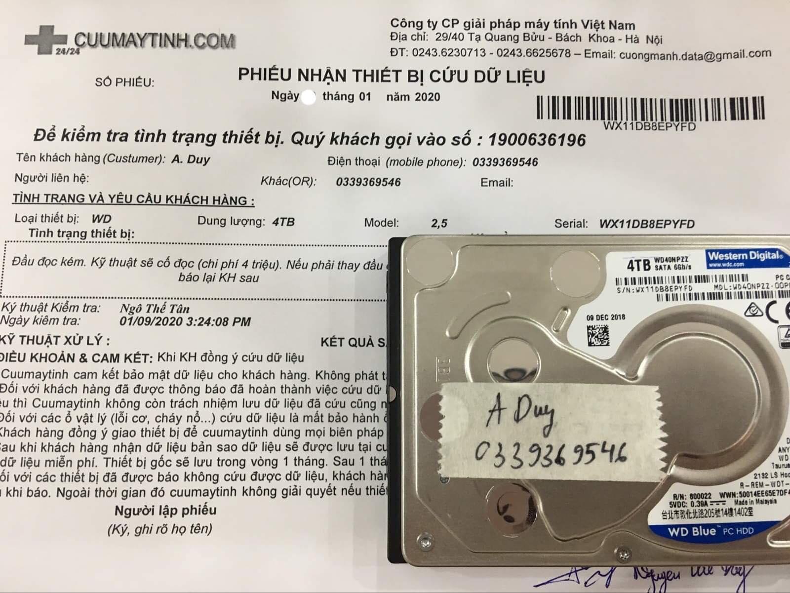 Lấy dữ liệu ổ cứng Western 4TB đầu đọc kém 15/01/2020 - cuumaytinh