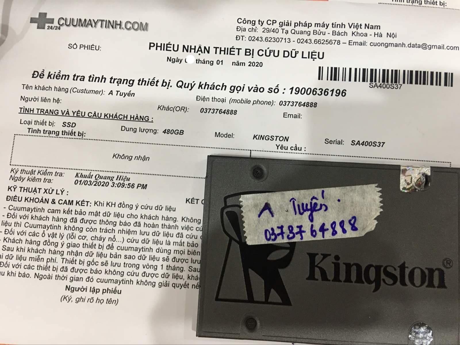 Phục hồi dữ liệu ổ cứng SSD Kingston 480GB không nhận 09/01/2020 - cuumaytinh