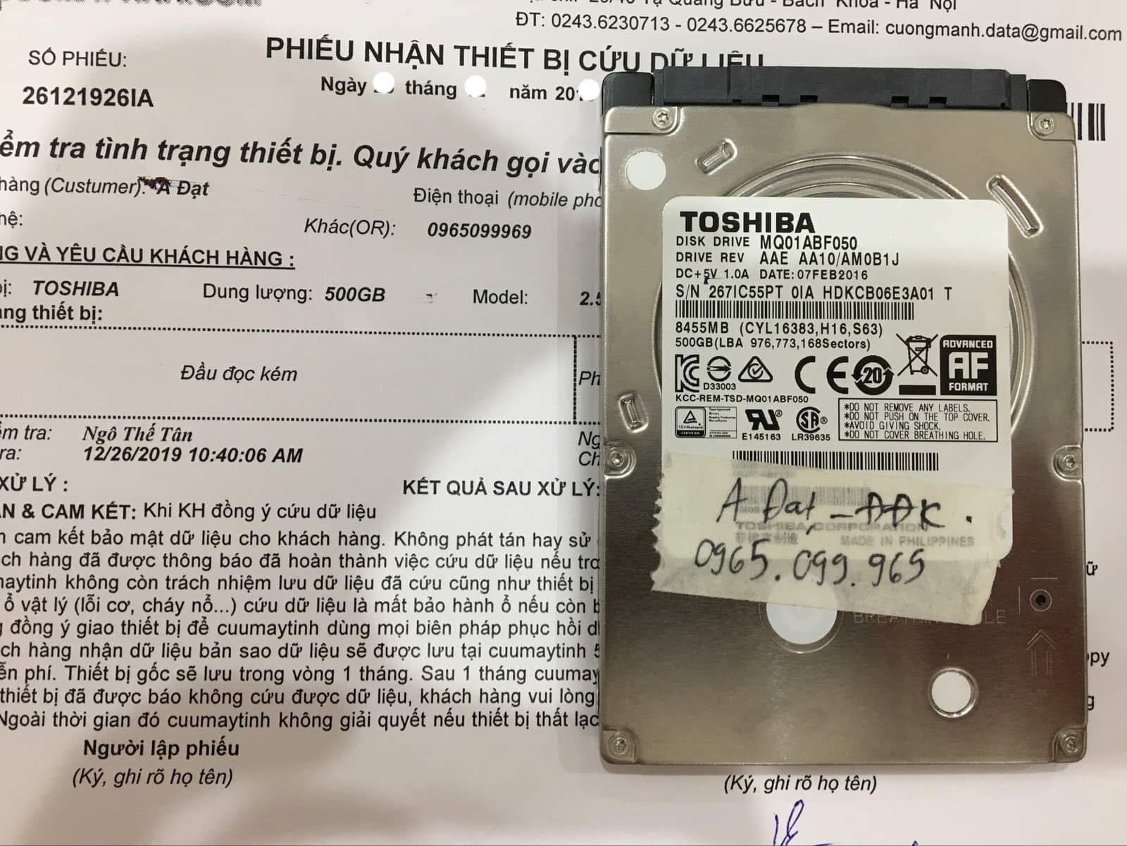Phục hồi dữ liệu ổ cứng Toshiba 500GB đầu đọc kém 04/01/2020 - cuumaytinh
