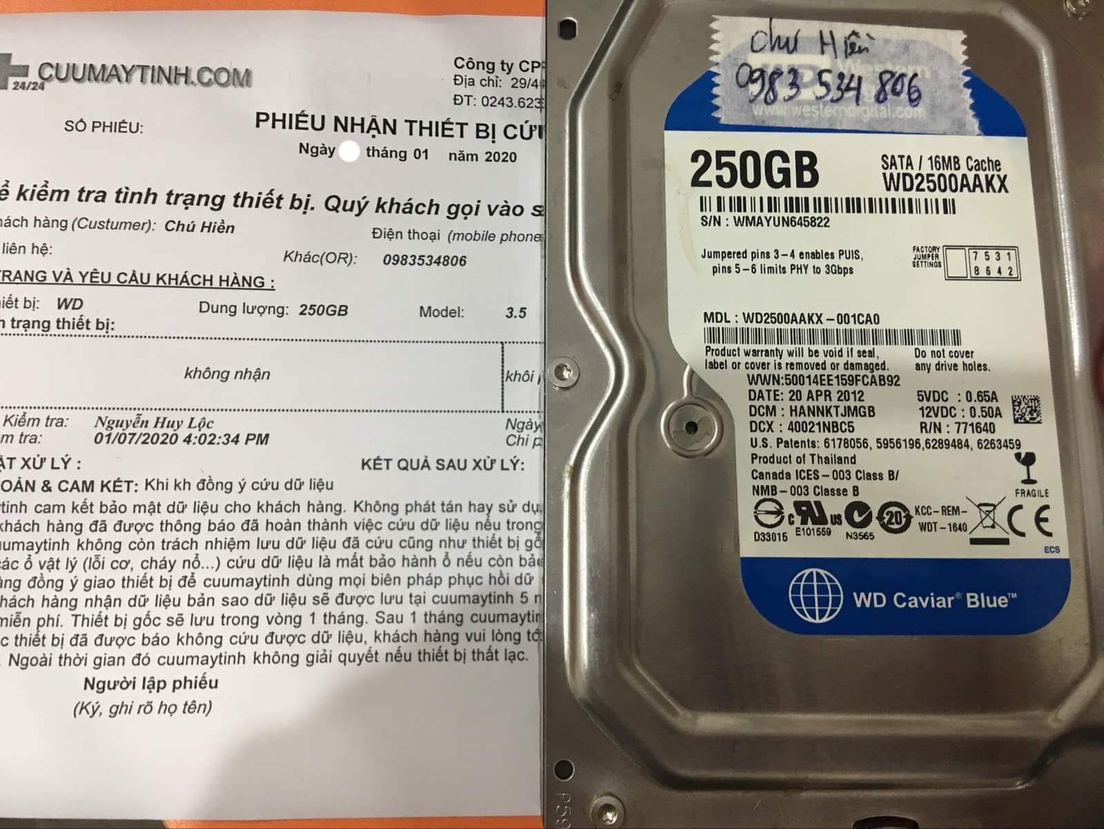 Phục hồi dữ liệu ổ cứng Western 250GB không nhận 08/01/2020 - cuumaytinh