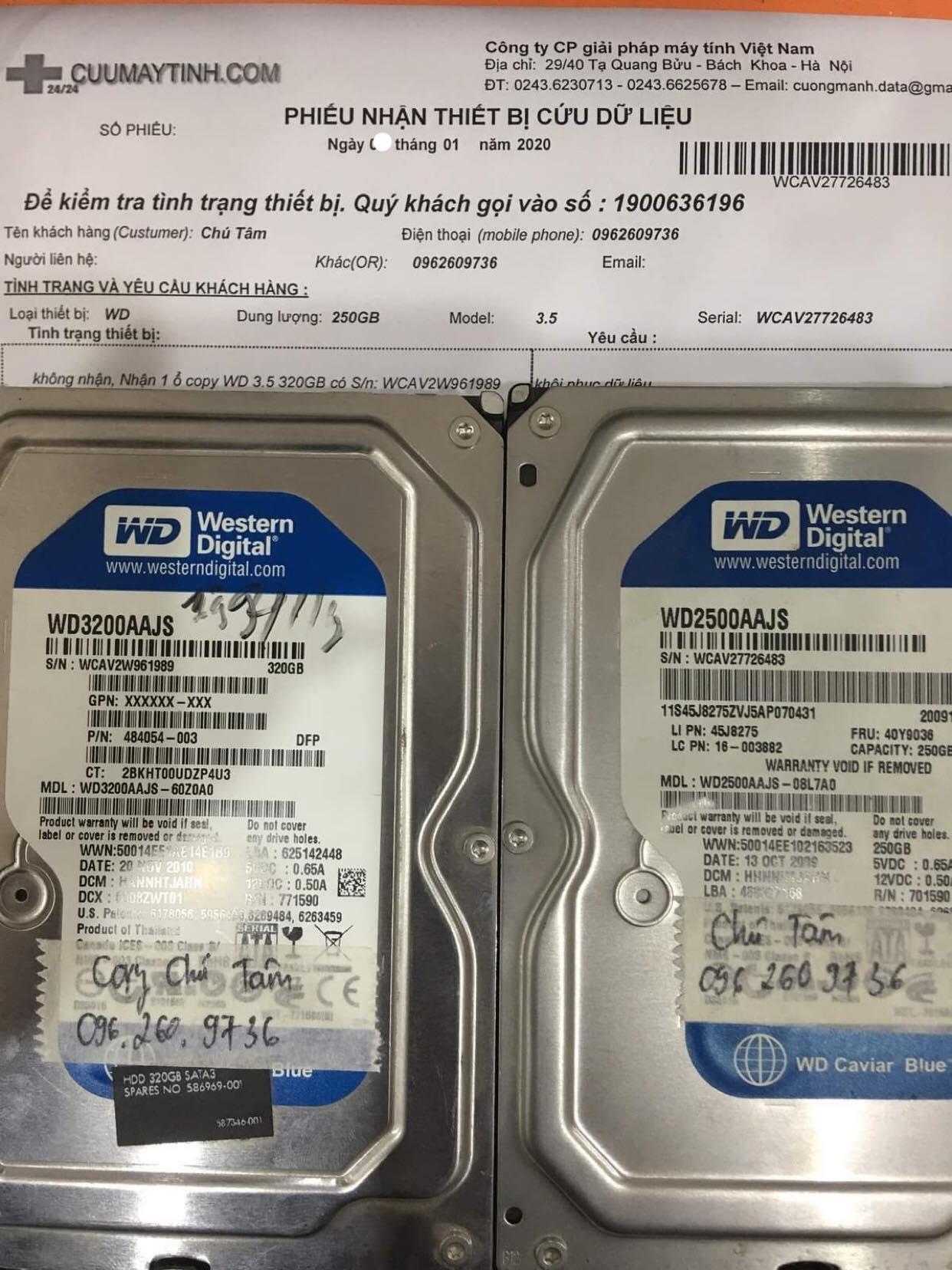 Phục hồi dữ liệu ổ cứng Western 250GB không nhận 11/01/2020 - cuumaytinh