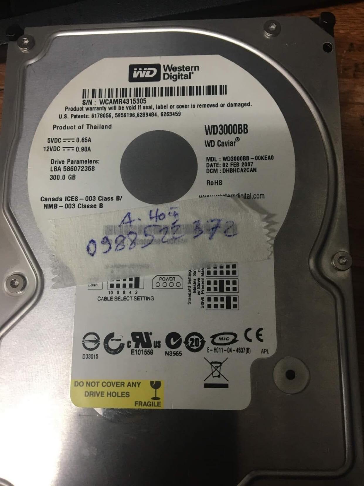 Phục hồi dữ liệu ổ cứng Western 300GB đầu đọc kém 14/01/2020 - cuumaytinh