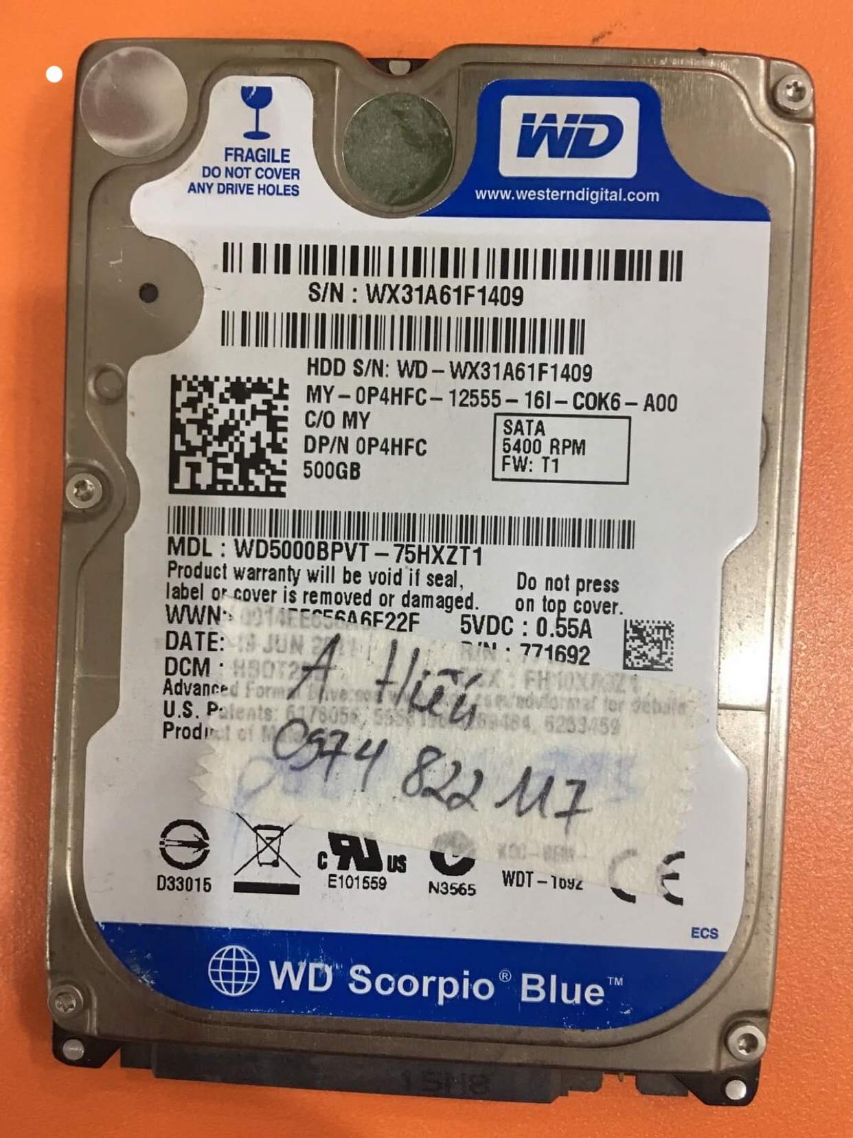 Phục hồi dữ liệu ổ cứng Western 500GB bad sector 02/01/2020 - cuumaytinh