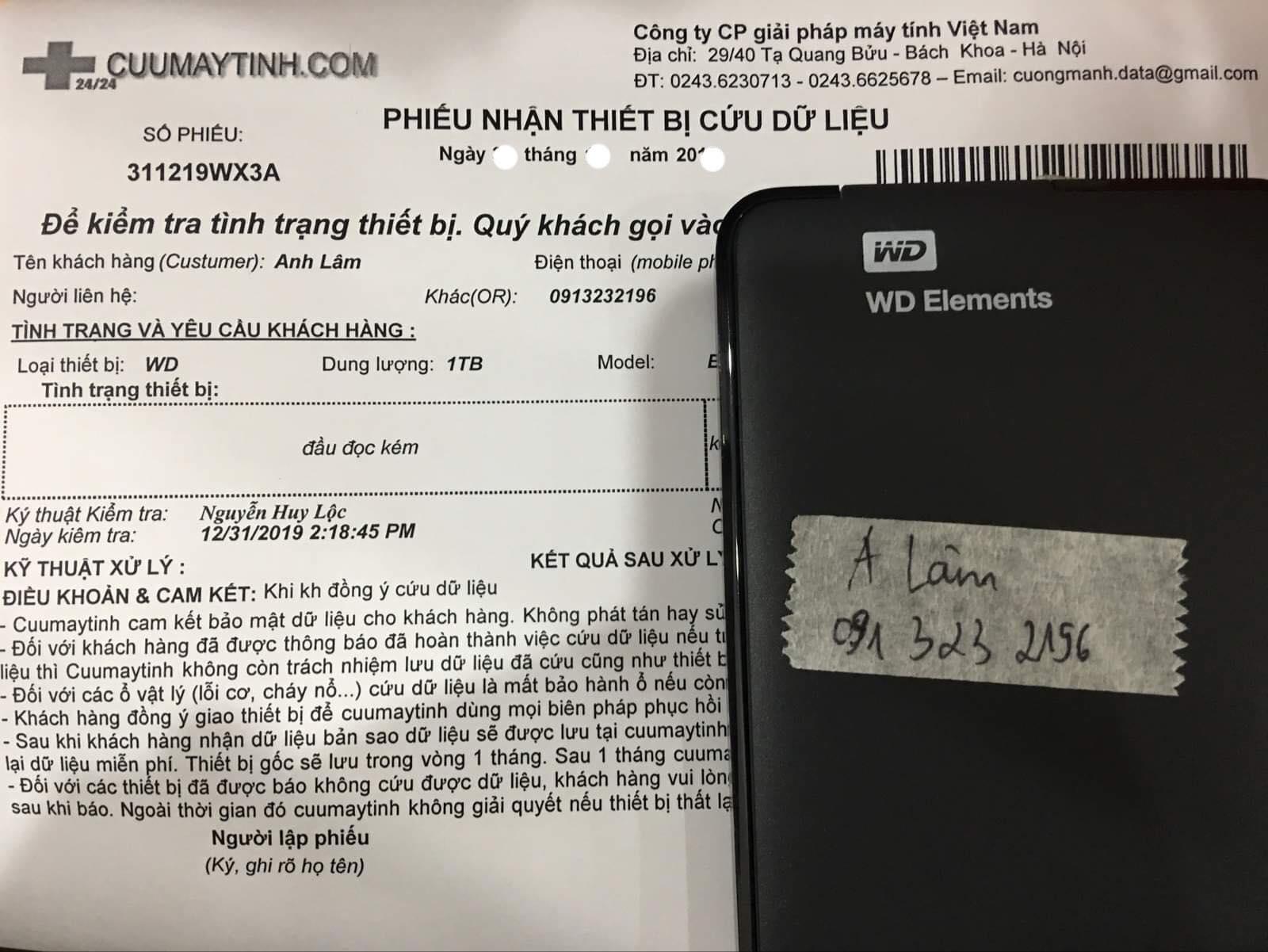 Cứu dữ liệu ổ cứng Western 1TB đầu đọc kém 14/01/2020 - cuumaytinh