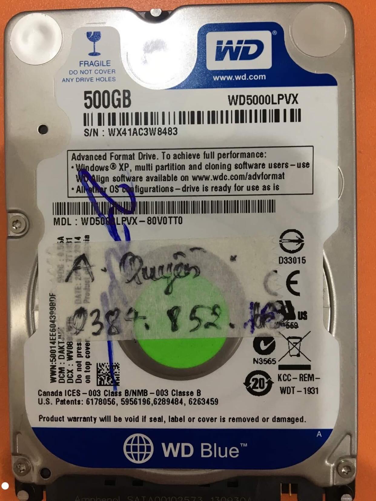 Cứu dữ liệu ổ cứng Western 500GB bad sector 31/12/2019 - cuumaytinh