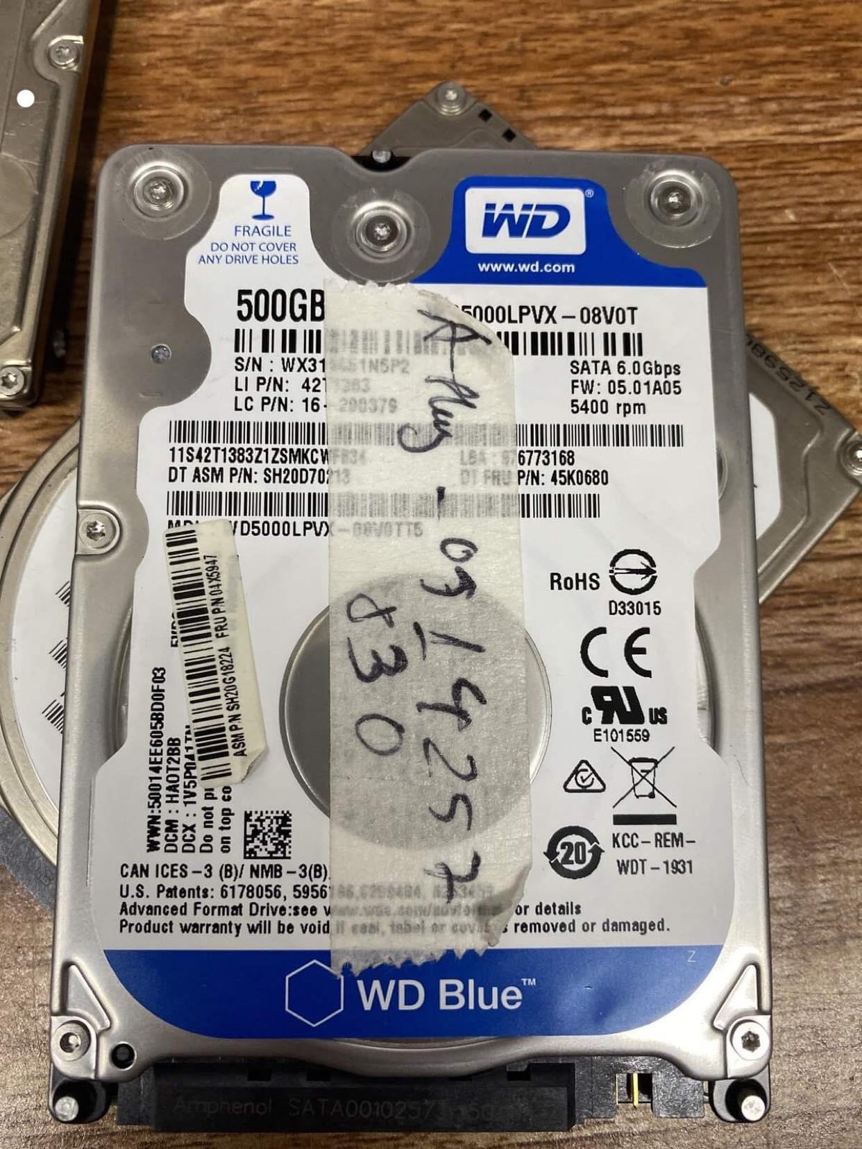 Cứu dữ liệu ổ cứng Western 500GB lỗi đầu đọc 09/01/2020 - cuumaytinh