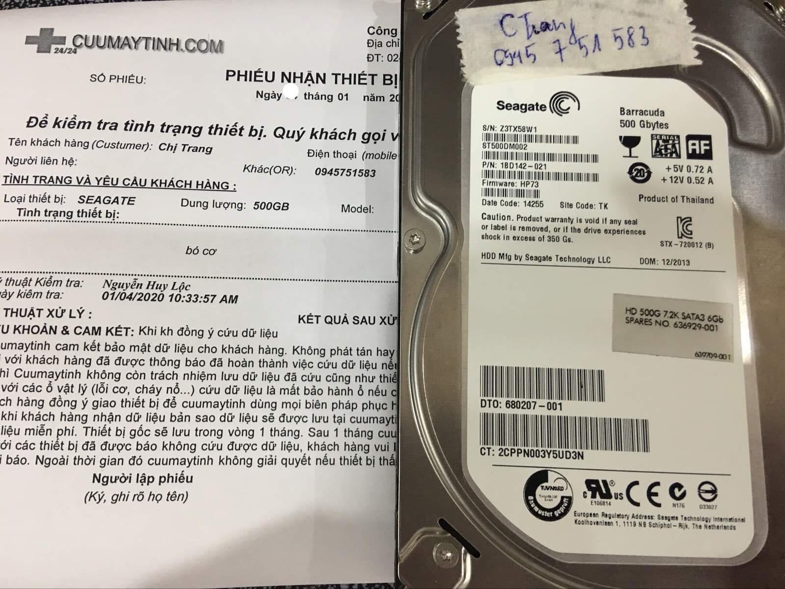 Lấy dữ liệu ổ cứng Seagate 500GB bó cơ 13/01/2020 - cuumaytinh
