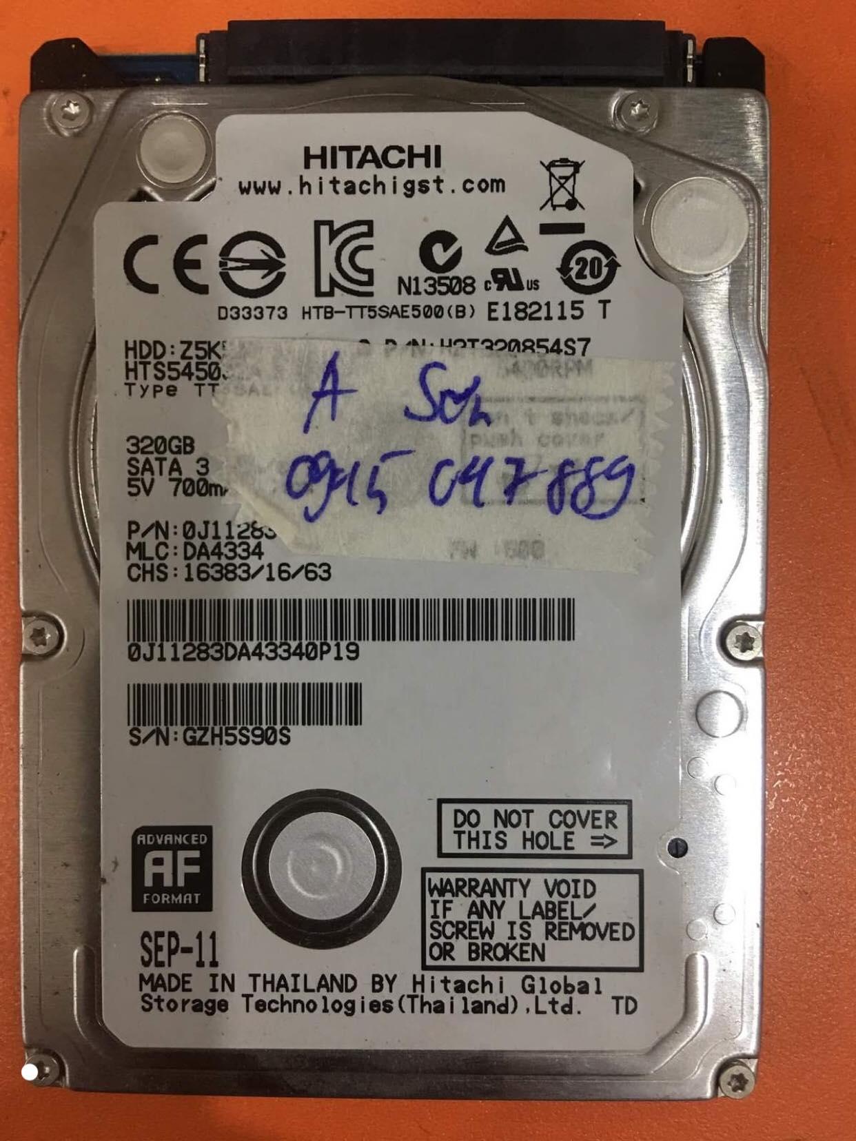 Cứu dữ liệu ổ cứng Hitachi 320GB lỗi cơ 15/02/2020 - cuumaytinh