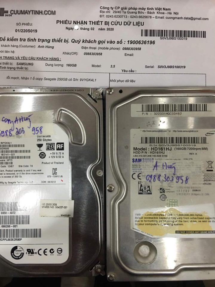 Cứu dữ liệu ổ cứng Samsung 160GB không nhận 22/02/2020 - cuumaytinh