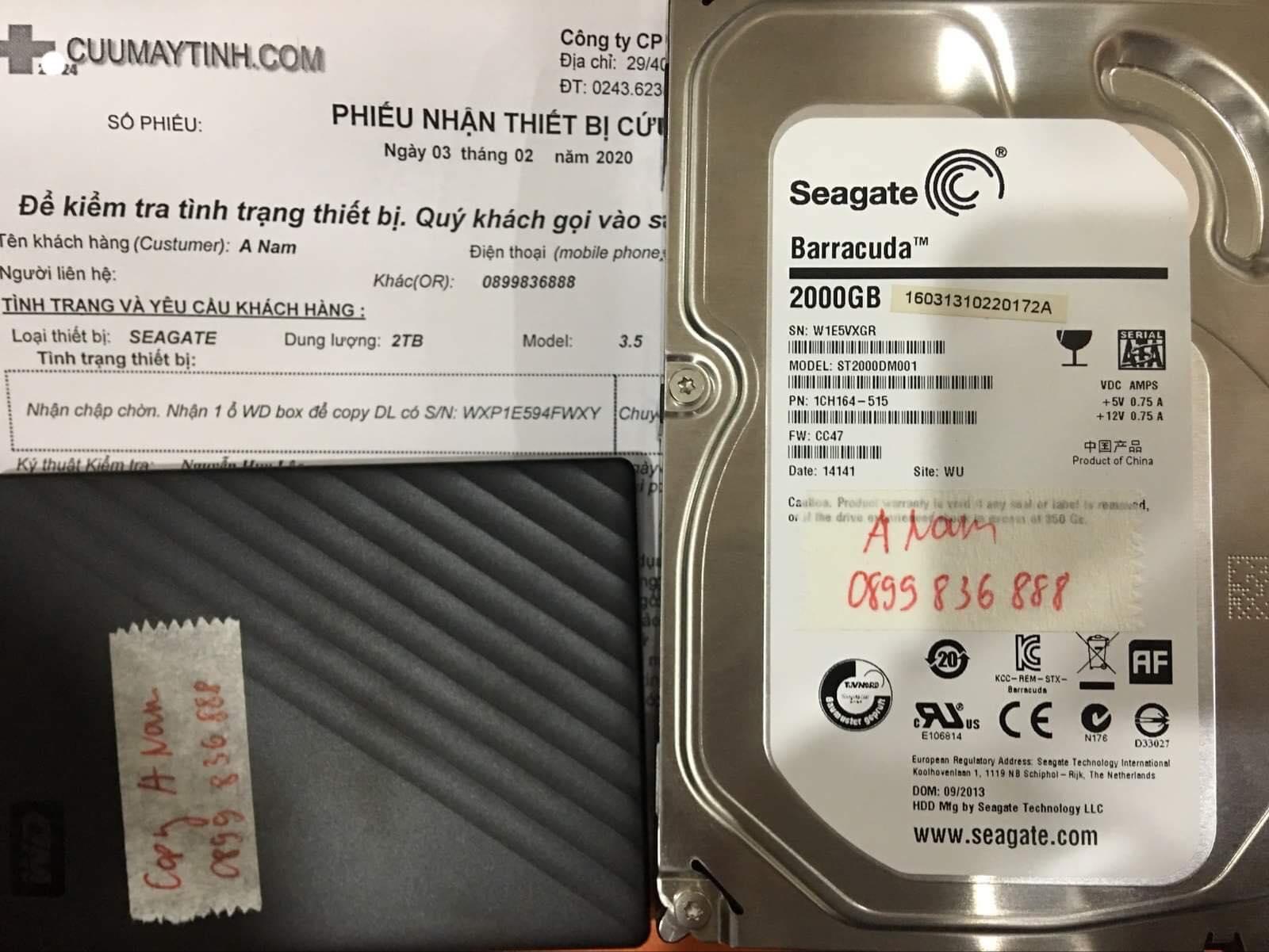 Cứu dữ liệu ổ cứng Seagate 2TB đầu đọc kém 03/02/2020 - cuumaytinh
