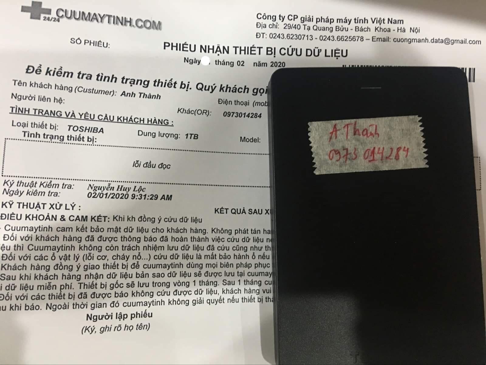 Cứu dữ liệu ổ cứng Toshiba 1TB lỗi đầu đọc 12/02/2020 - cuumaytinh