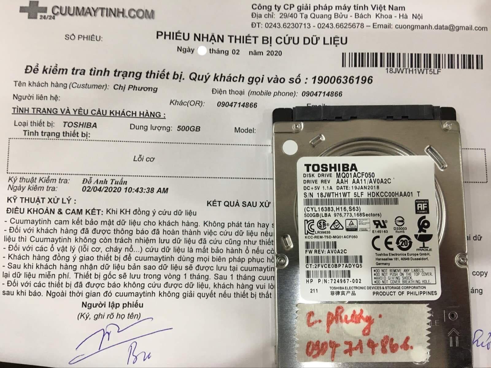 Cứu dữ liệu ổ cứng Toshiba 500GB lỗi cơ 07/02/2020 - cuumaytinh
