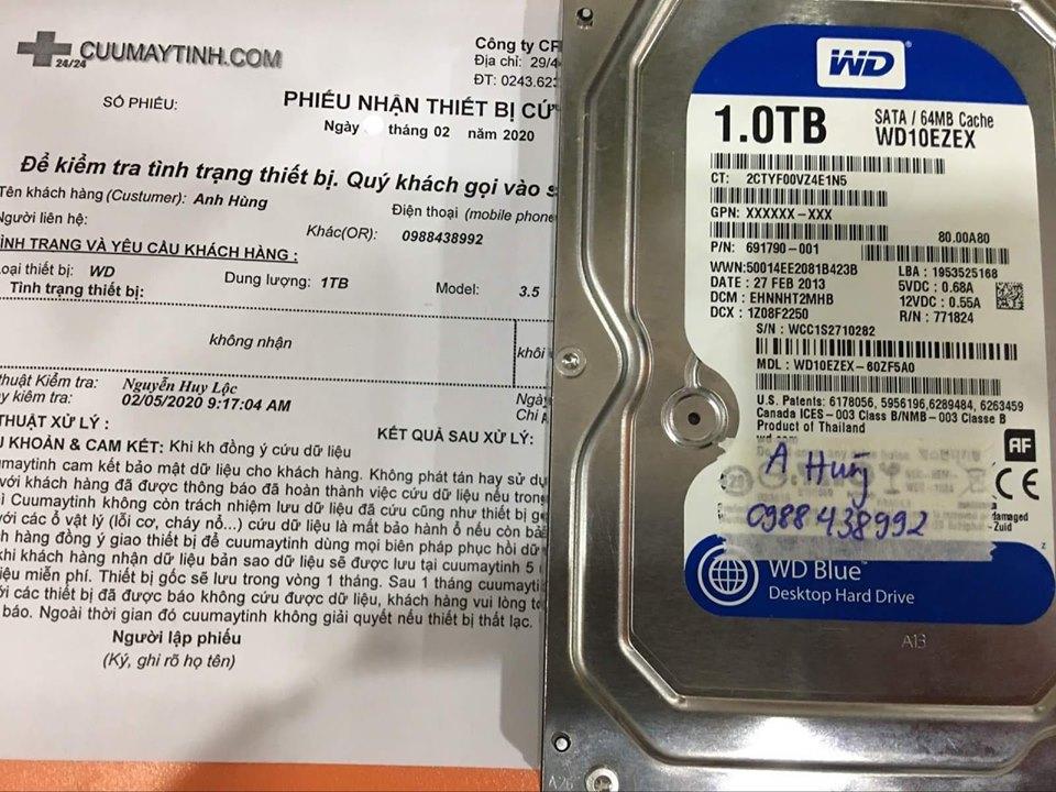 Cứu dữ liệu ổ cứng Western 1TB không nhận 06/02/2020 - cuumaytinh