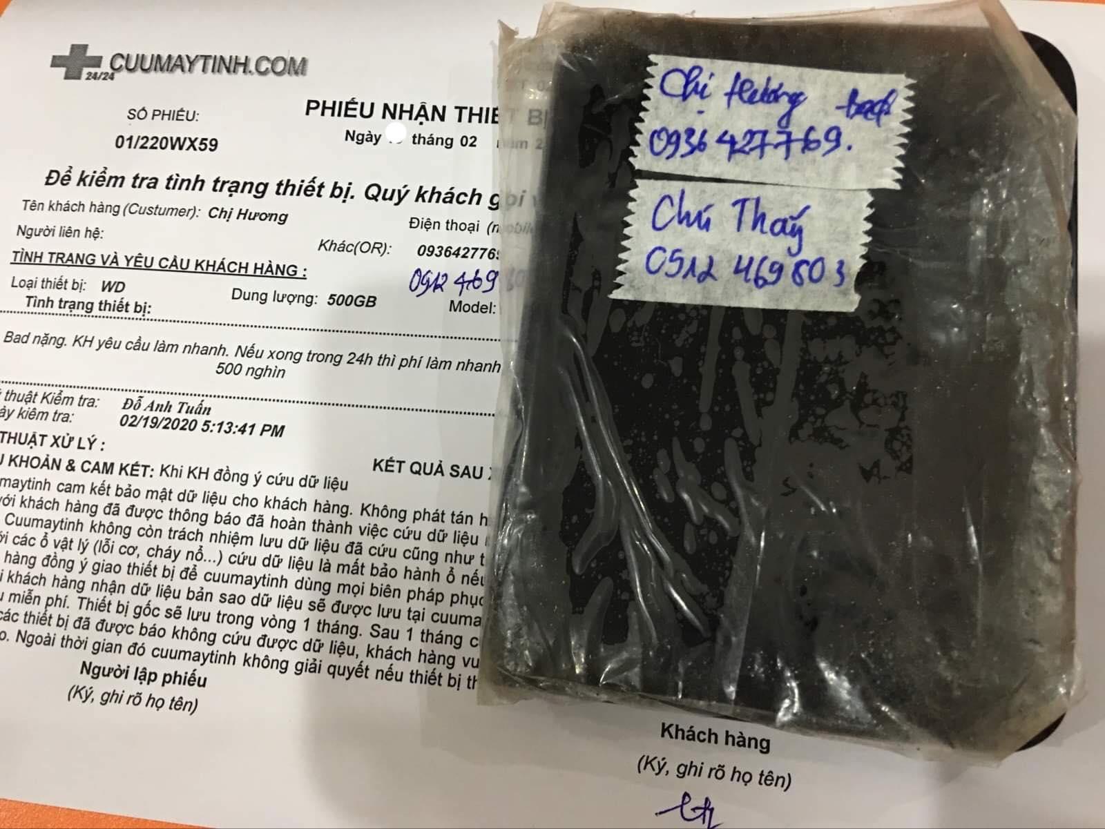 Cứu dữ liệu ổ cứng Western 500GB bad 21/02/2020 - cuumaytinh