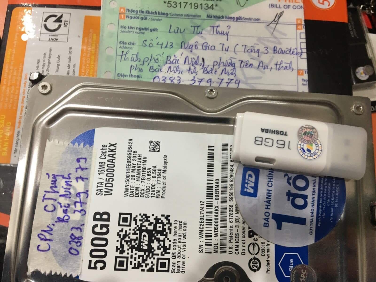 Cứu dữ liệu ổ cứng Western 500GB mất dữ liệu tại Bắc Ninh 08/02/2020 - cuumaytinh