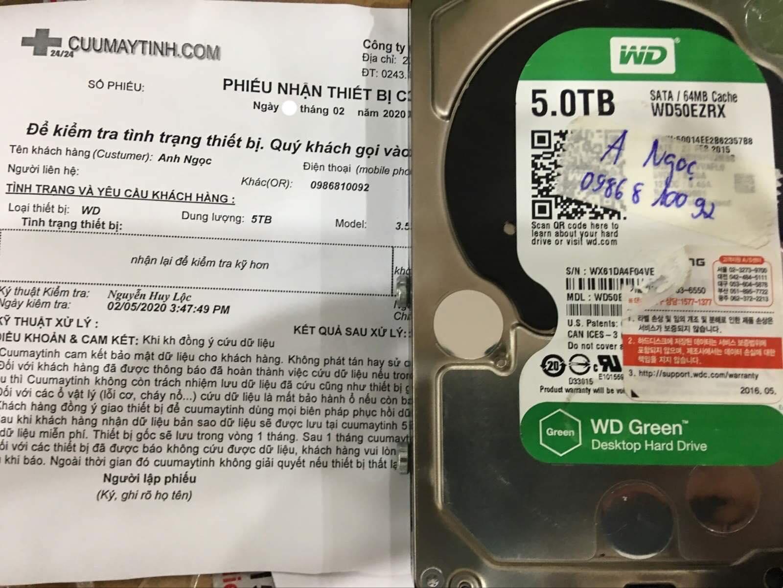 Cứu dữ liệu ổ cứng Western 5TB không nhận 11/02/2020 - cuumaytinh