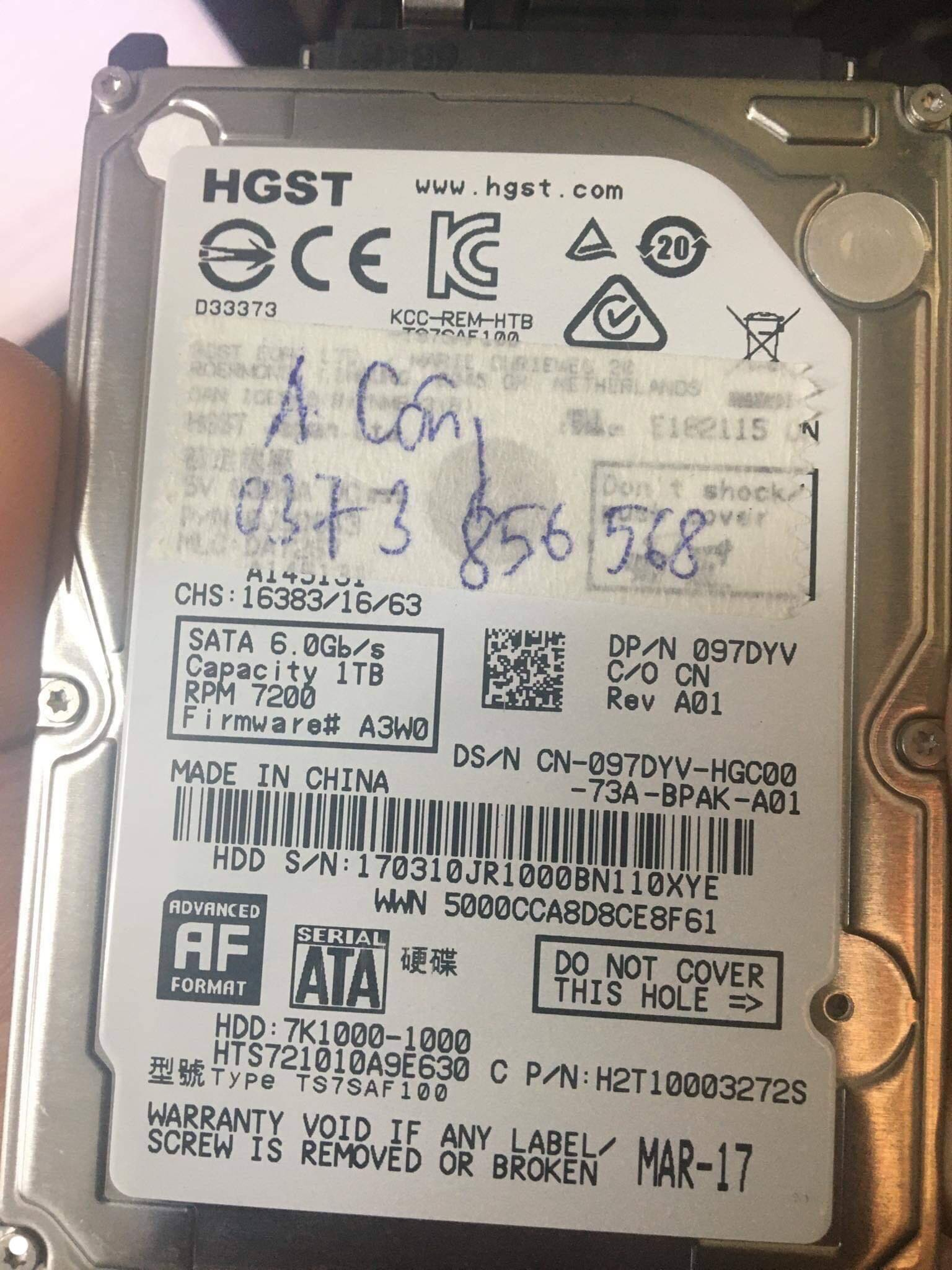 Khôi phục dữ liệu ổ cứng HGST 1TB xóa nhầm 31/01/2020 - cuumaytinh