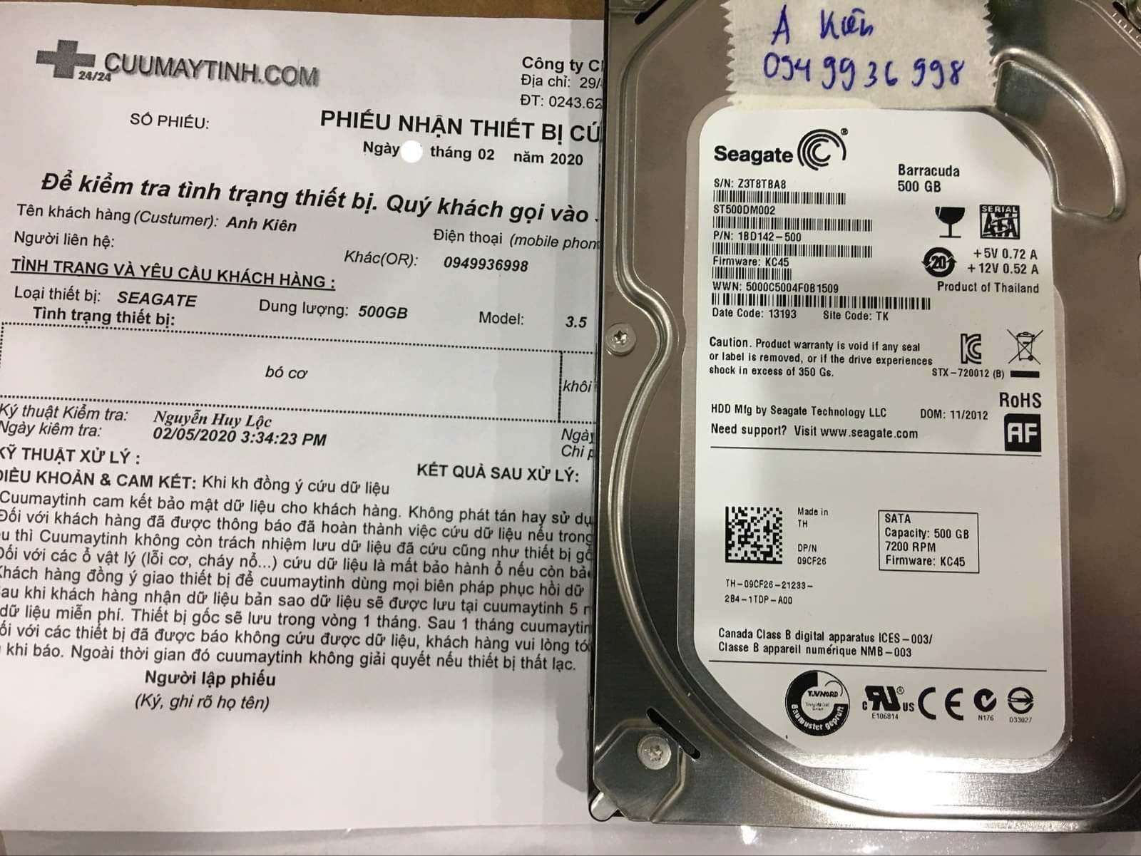 Khôi phục dữ liệu ổ cứng Seagate 500GB bó cơ 05/02/2020 - cuumaytinh