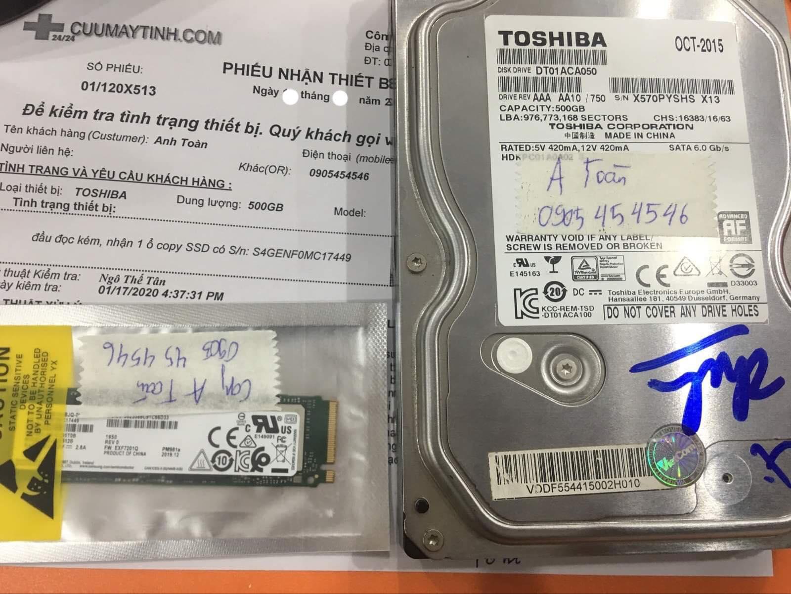 Khôi phục dữ liệu Toshiba 500GB đầu đọc kém 03/02/2002 - cuumaytinh