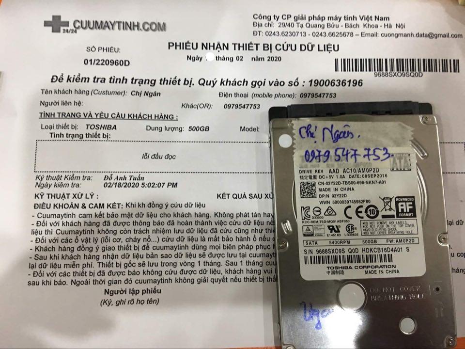 Khôi phục dữ liệu ổ cứng Toshiba 500GB lỗi đầu đọc 22/02/2020 - cuumaytinh