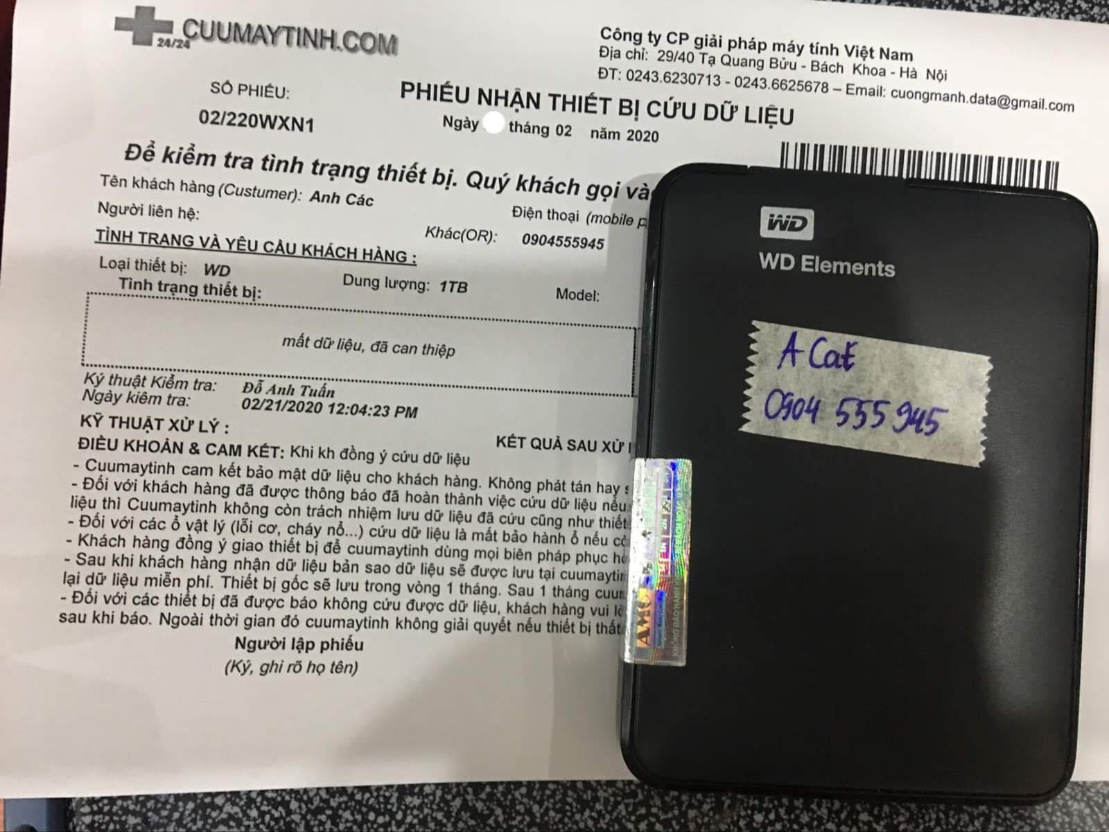 Khôi phục dữ liệu ổ cứng Western 1TB mất dữ liệu 26/02/2020 - cuumaytinh