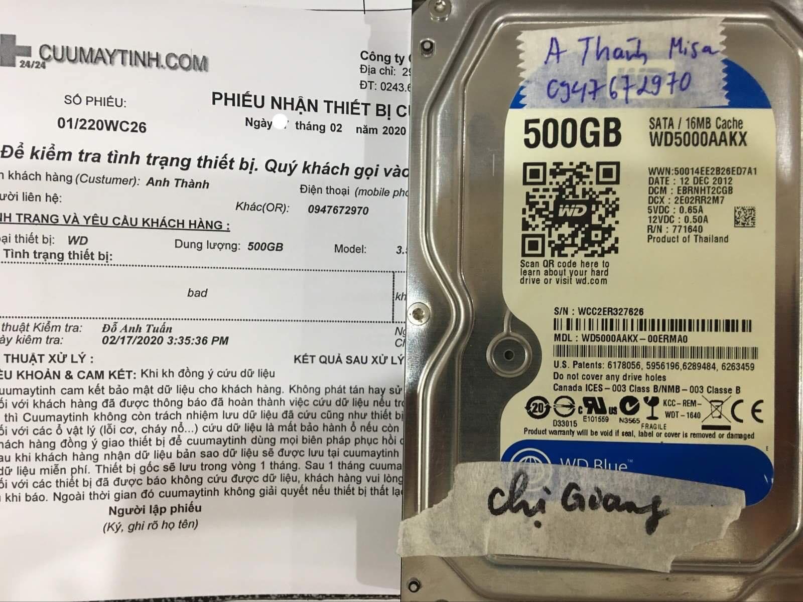 Khôi phục dữ liệu ổ cứng Western 500GB bad 19/02/2020 - cuumaytinh