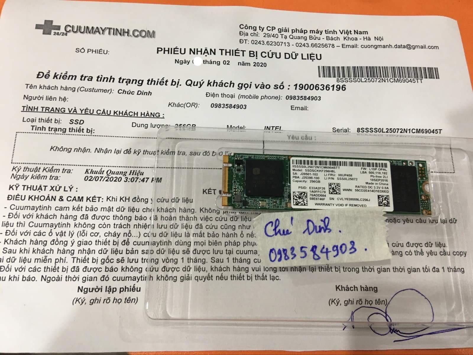 Lấy dữ liệu ổ cứng SSD Intel 256GB không nhận 12/02/2020 - cuumaytinh