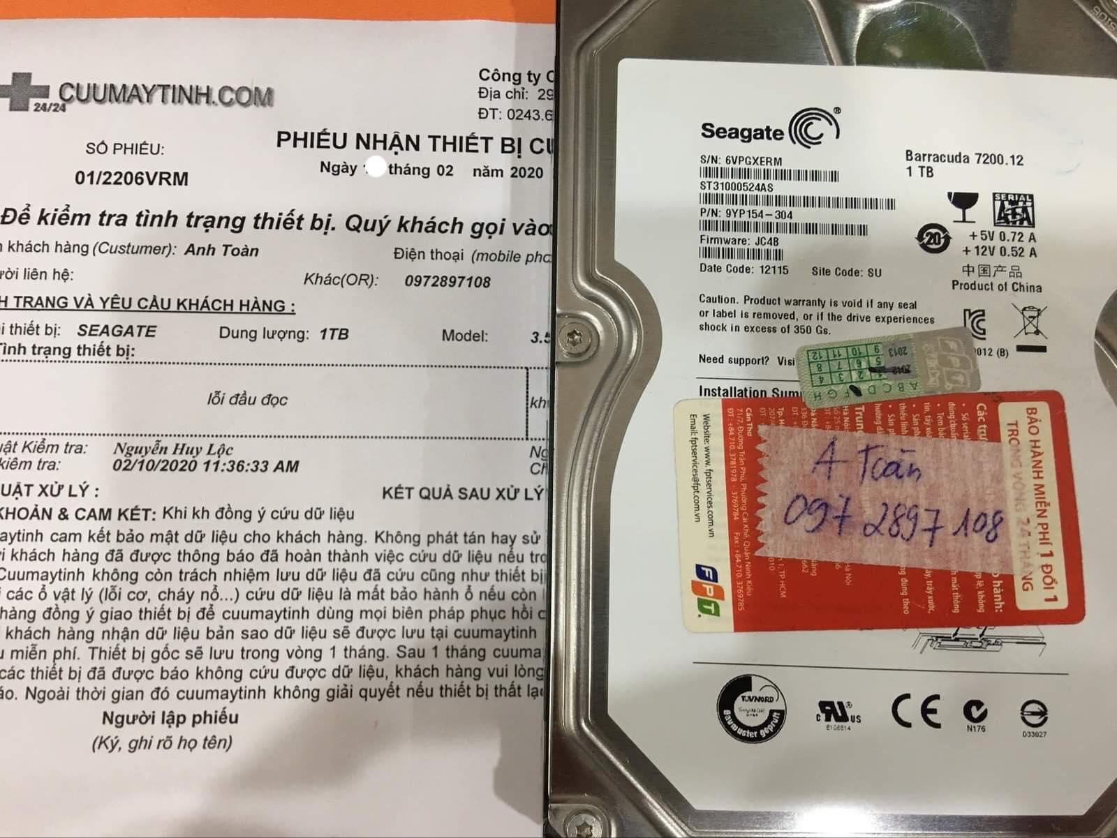 Lấy dữ liệu ổ cứng Seagate 1TB lỗi đầu đọc 14/02/2020 - cuumaytinh