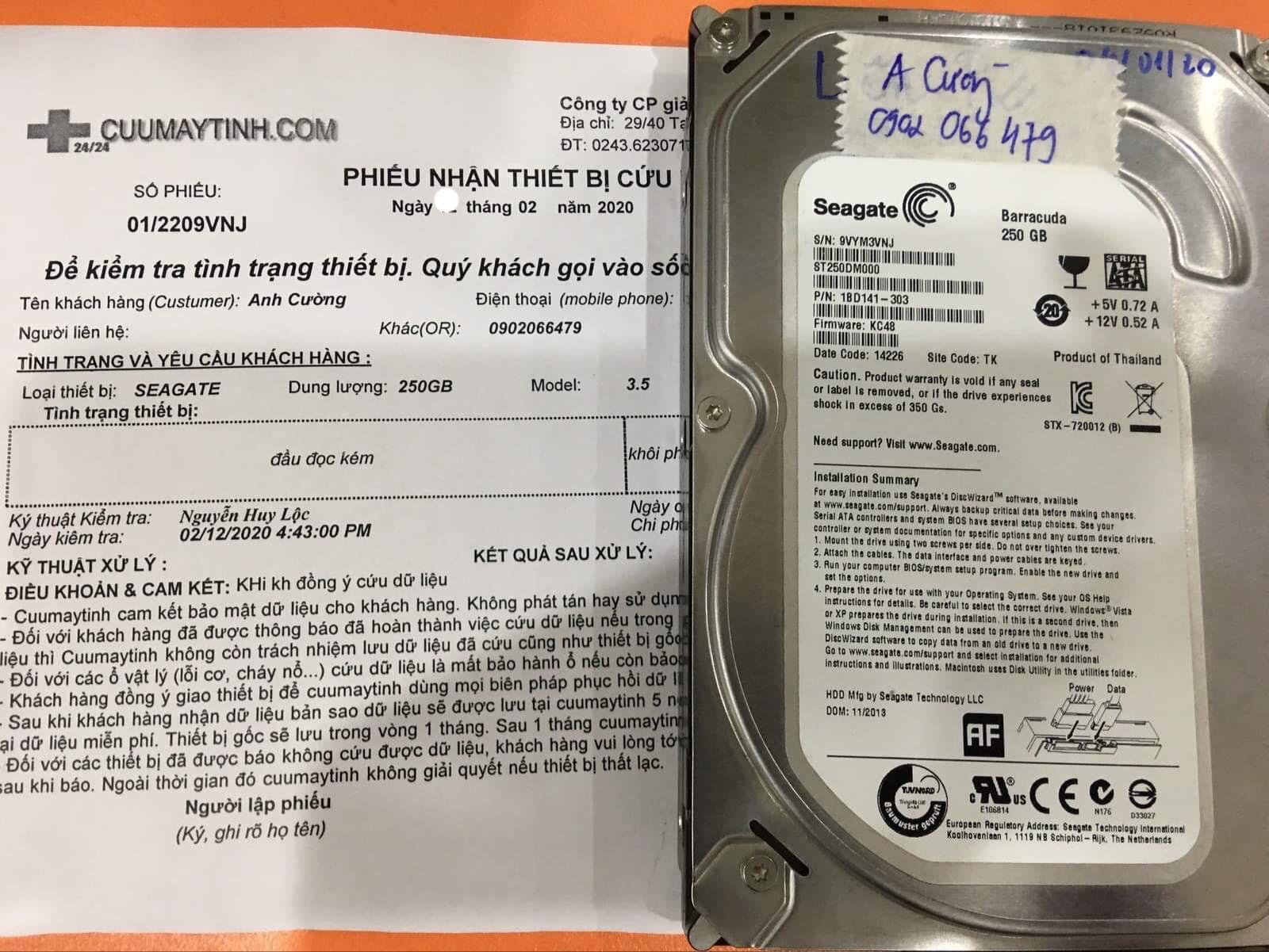 Lấy dữ liệu ổ cứng Seagate 250GB đầu đọc kém 19/02/2020 - cuumaytinh
