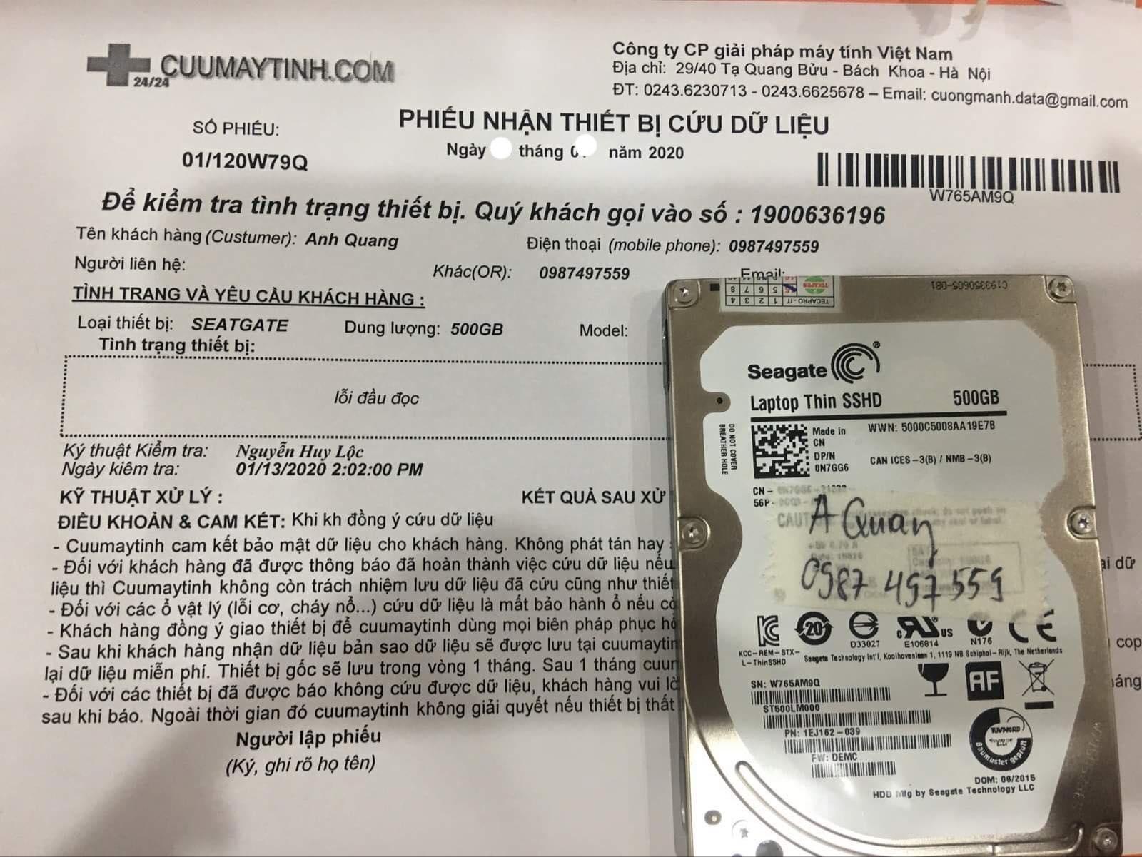 Lấy dữ liệu ổ cứng Seagate 500GB lỗi đầu đọc 07/02/2020 - cuumaytinh