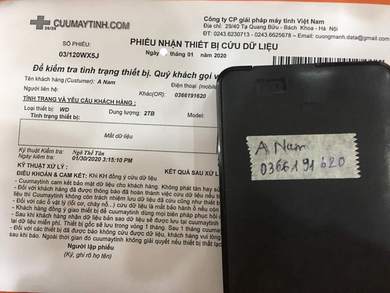 Lấy dữ liệu ổ cứng Western 2TB mất dữ liệu 31/01/2020 - cuumaytinh