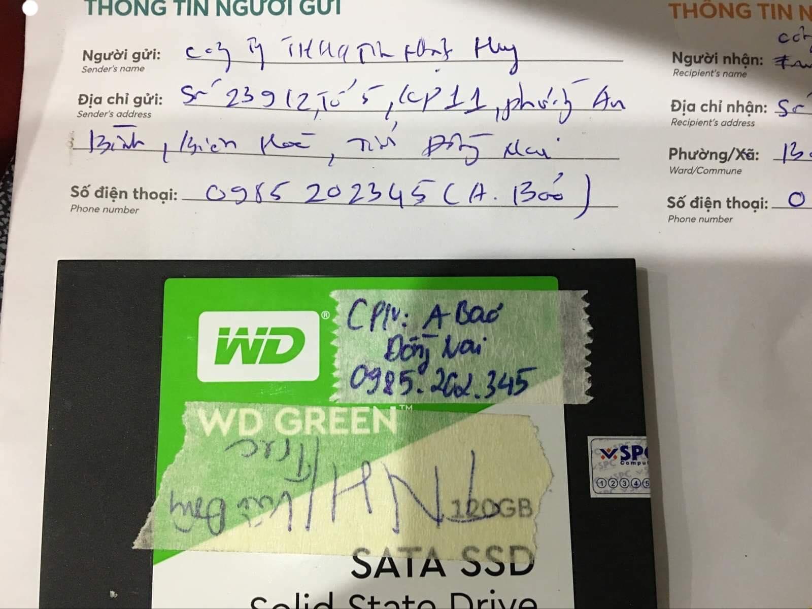 Phục hồi dữ liệu ổ cứng SSD Western 120GB không nhận tại Đồng Nai 25/02/2020 - cuumaytinh