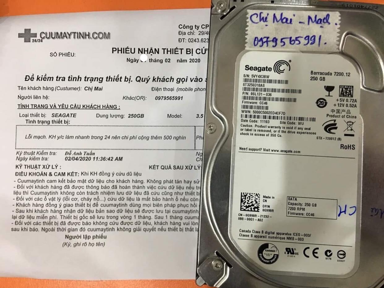 Phục hồi dữ liệu ổ cứng Seagate 250GB lỗi mạch 05/02/2020 - cuumaytinh