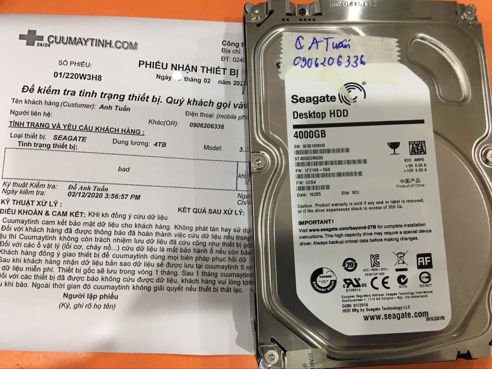 Phục hồi dữ liệu ổ cứng Seagate 4TB bad 15/02/2020 - cuumaytinh