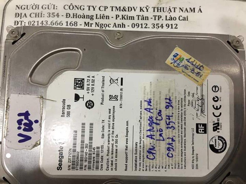 Phục hồi dữ liệu ổ cứng Seagate 500GB lỗi đầu đọc tại Lào Cai 06/02/2020 - cuumaytinh