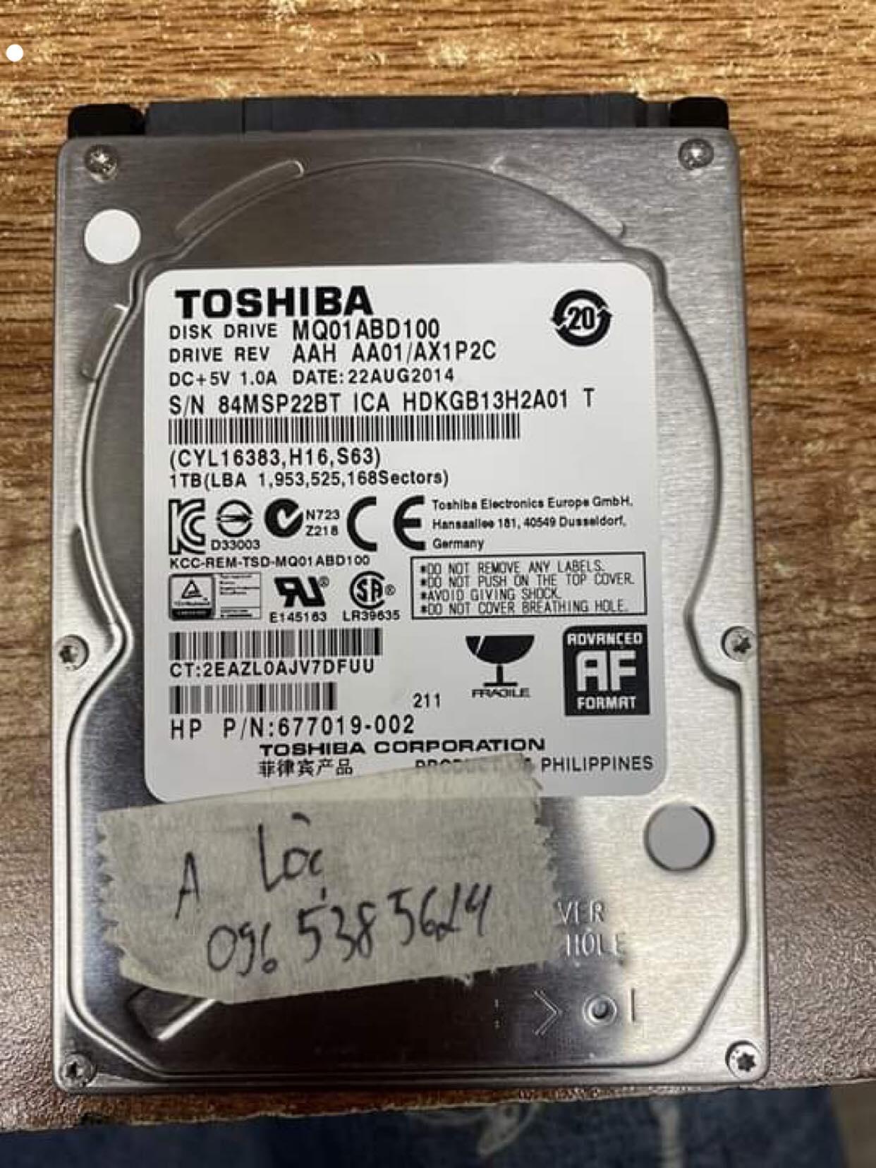 Phục hồi dữ liệu ổ cứng Toshiba 1TB không nhận 14/02/2020 - cuumaytinh