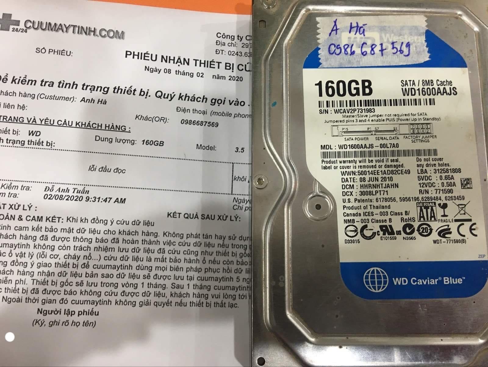 Phục hồi dữ liệu ổ cứng Western 160GB lỗi đầu đọc 08/02/2020 - cuumaytinh