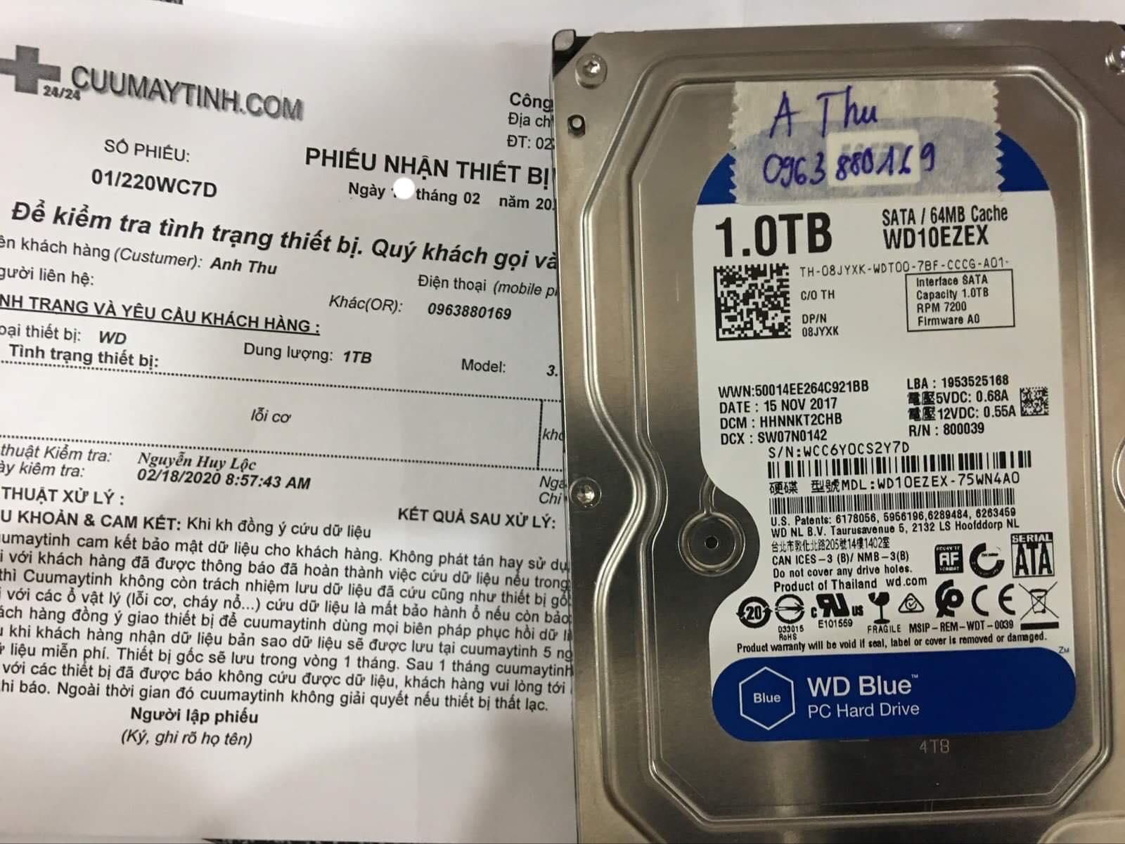 Phục hồi dữ liệu ổ cứng Western 1TB lỗi cơ 19/02/2020 - cuumaytinh