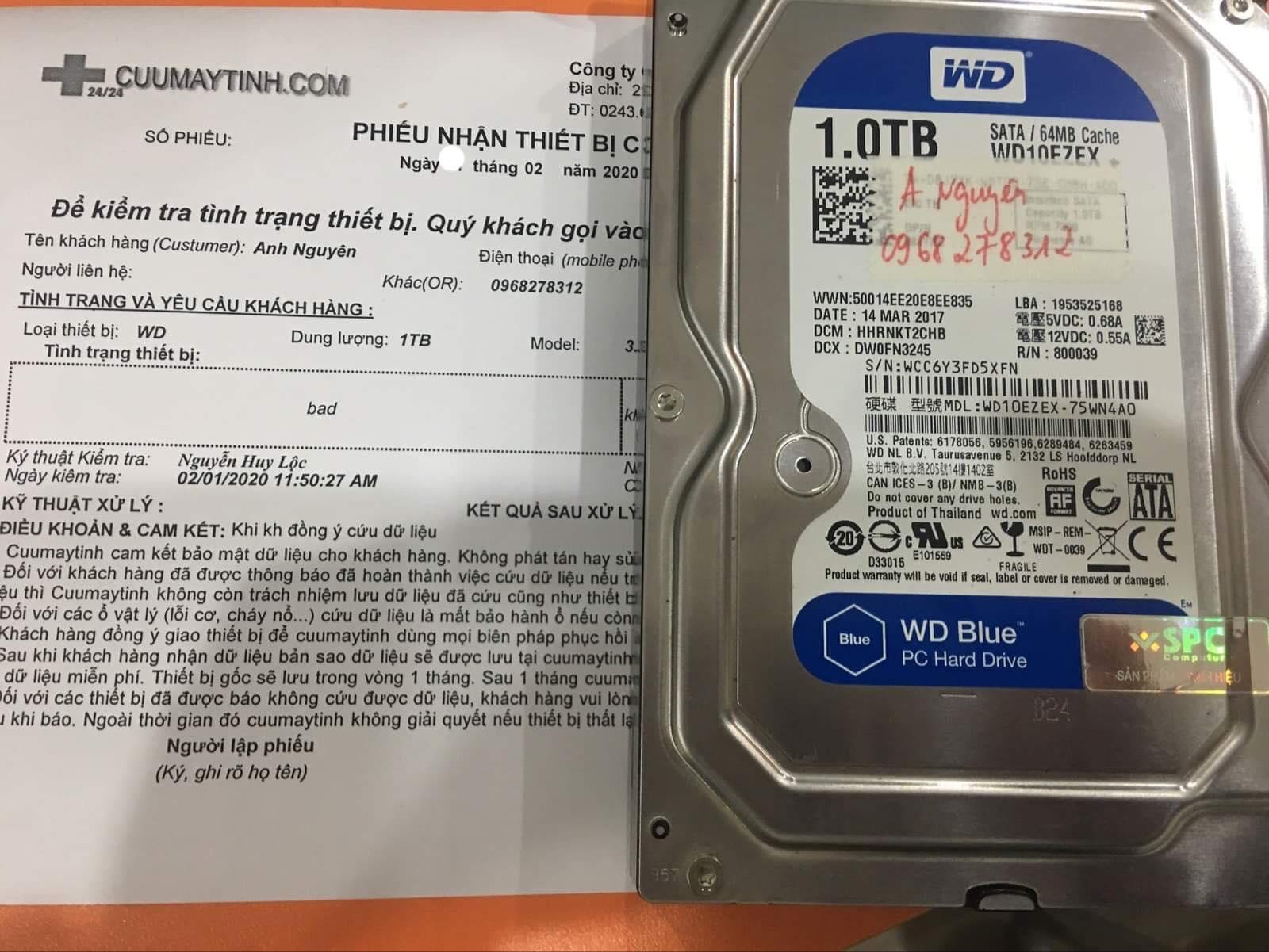 Phục hồi dữ liệu ổ cứng Western 1TB bad 04/02/2020 - cuumaytinh