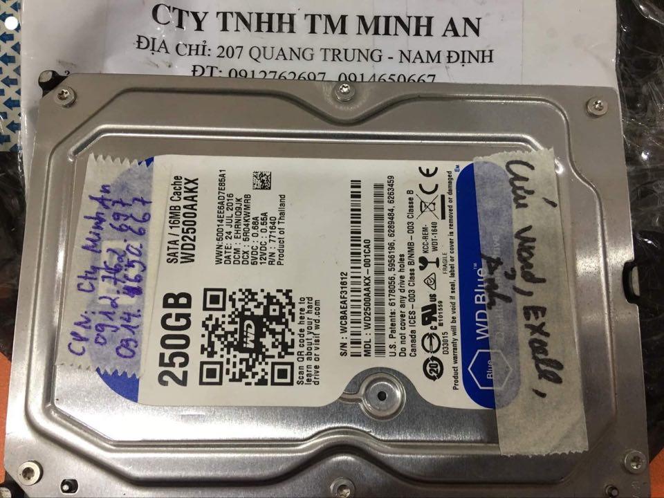 Phục hồi dữ liệu ổ cứng Western 250GB không quay tại Nam Định 22/02/2020 - cuumaytinh