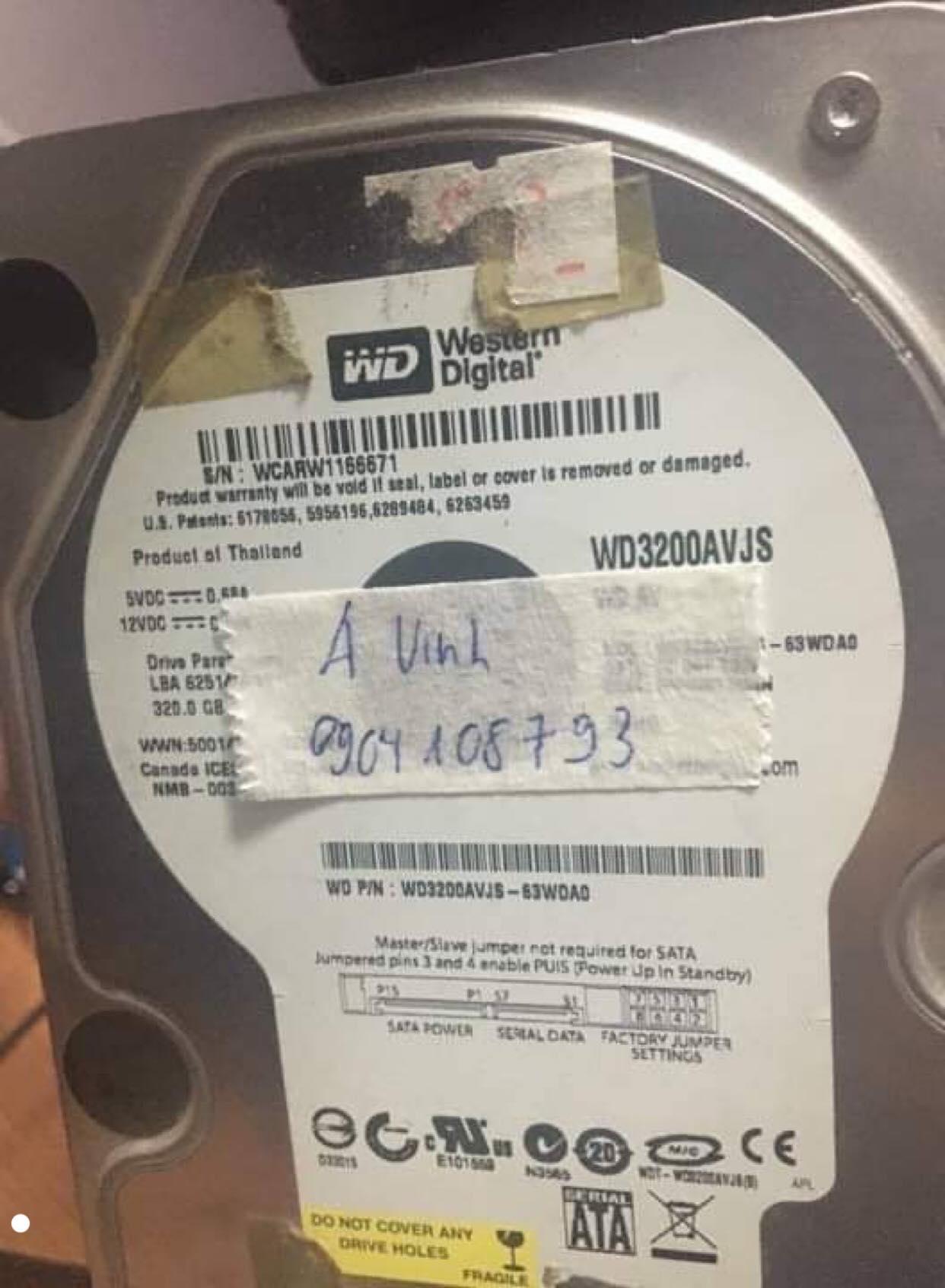 Phục hồi dữ liệu ổ cứng Western 320GB mất dữ liệu 01/02/2020 - cuumaytinh