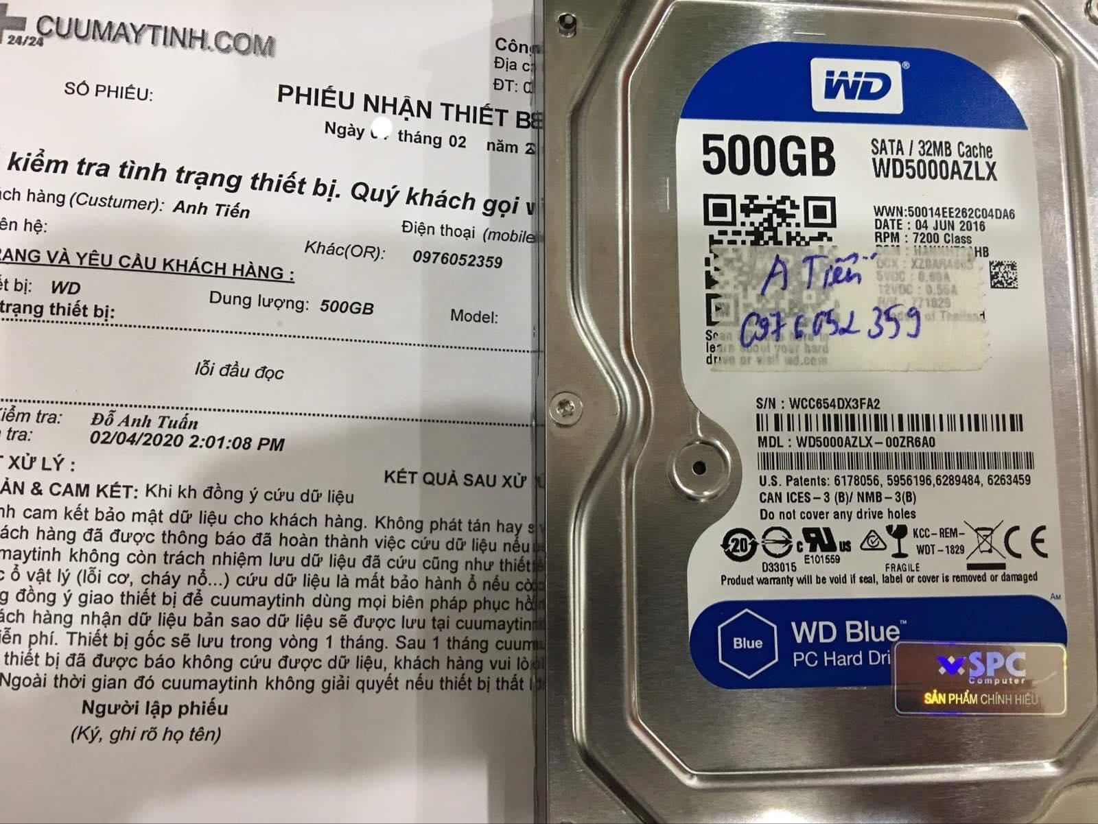 Phục hồi dữ liệu ổ cứng Western 500GB lỗi đầu đọc 11/02/2020 - cuumaytinh